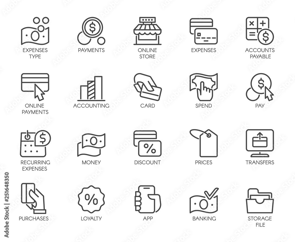 Fototapeta Bank, financial, economic, payment set icons. Credit and debit cards, Nfc system, currency, money, dollar line labels