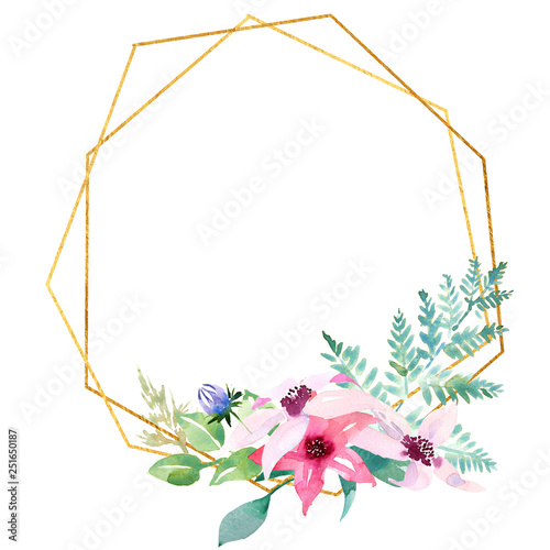 Poster Fleur Wedding spring romantic bridal frame wreath. pink purple and white flowers green leaves ornament