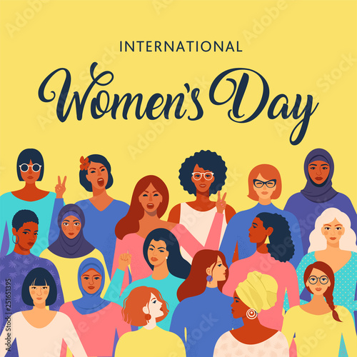 Photo Stands Illustrations Female diverse faces of different ethnicity poster. Women empowerment movement pattern. International womens day graphic in vector.