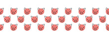 Pigs Seamless Vector Border. Cute Polka Dot Pig Faces Coral Pink On White Background. Geometric Fun Kids Design. Use For Fabric, Kids Decor, Gift Wrap, Packaging, Digital Paper, Nursery, New Year Card
