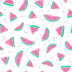 Seamless pattern with watermelon slices.