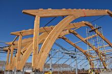 Roof Construction Of Laminated Veneer Lumber. Building. Glued Laminated Timber. Building. Construction Site HR.