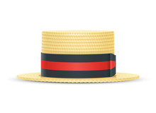 Vintage Classic Boater Straw Hat. Stylish Cylinder Headgear For Gentleman. Retro Wear Accessory. Male Fashion. Trendy Clothes. Isolated White Background. Eps10 Vector Illustration.