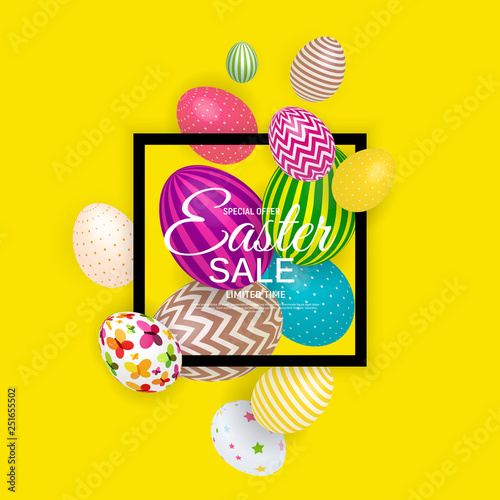 Fototapety, obrazy: Abstract Easter Sale Template Background Vector Illustration