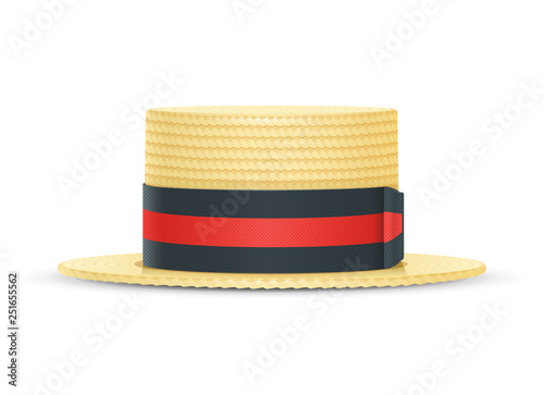 Photo Vintage classic boater straw hat