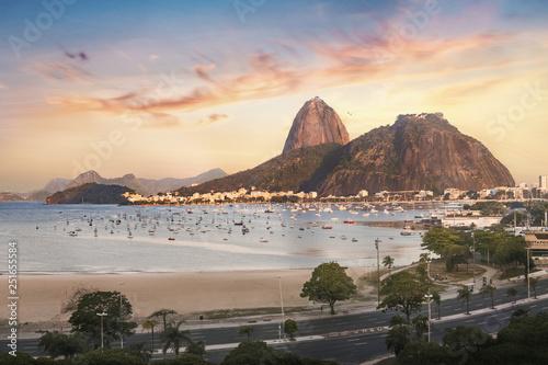 Fotografie, Obraz Botafogo, Guanabara Bay and Sugar Loaf Mountain at sunset - Rio de Janeiro, Braz