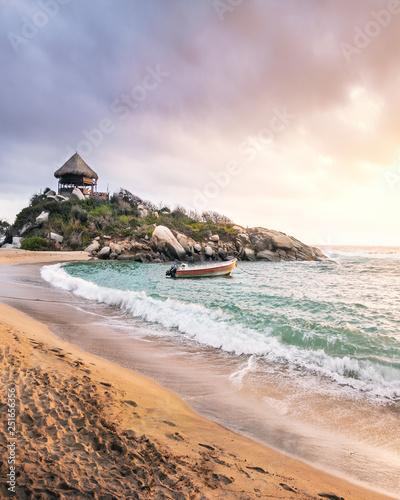 Fotografie, Obraz  Tropical Beach at Sunrise in Cape San Juan - Tayrona National Park, Colombia
