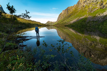 Hiker By Lake
