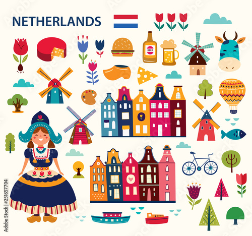 Obraz Vector illustration in cartoon style with symbols of Netherlands - fototapety do salonu