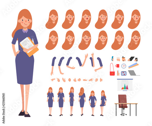 Business woman character creation for animation Canvas-taulu