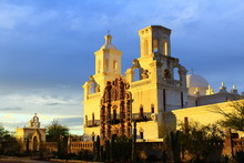 San Xavier Del Bac Mission At Dusk.