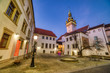 canvas print picture Brno Old Town Hall with a Small Square and Old Tower at Dusk, Czech Republic