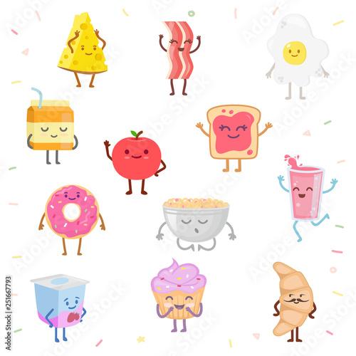 Set of cute food characters Wallpaper Mural