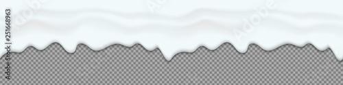 Fotografie, Obraz  Creative vector illustration of yogurt creamy liquid drips, cream melt milk splash flowing seamless wide background with transparent