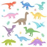 Fototapeta Dinusie - Cute dinosaurs set. Funny cartoon dinosaur. Isolated vector illustration