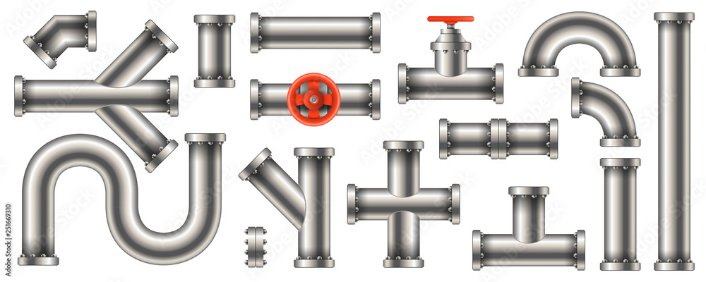 Fototapeta Creative vector illustration of steel metal water, oil, gas pipeline, pipes sewage isolated on transparent background. Art design abstract concept graphic ells, gate valve, fittings, faucet element