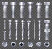 Creative Vector Illustration Of Steel Brass Bolts, Metal Screws, Iron Nails, Rivets, Washers, Nuts Hardware Side View Isolated On Transparent Background. Art Design Abstract Concept Graphic Element