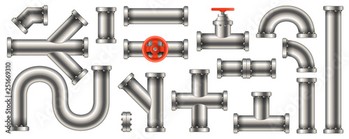 Cuadros en Lienzo  Creative vector illustration of steel metal water, oil, gas pipeline, pipes sewage isolated on transparent background