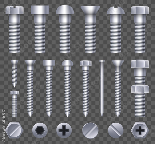 Fotografiet Creative vector illustration of steel brass bolts, metal screws, iron nails, rivets, washers, nuts hardware side view isolated on transparent background