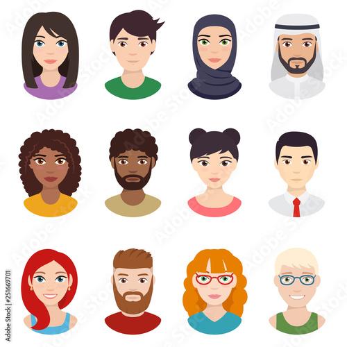 Set of people avatars Canvas Print