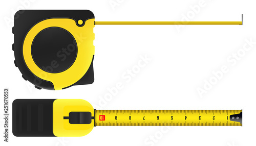 Fotografia Creative vector illustration of tape measure, measuring tool, ruler, meter isolated on transparent background