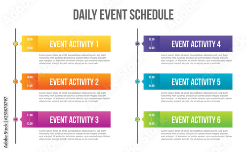 Obraz Creative vector illustration of daily event schedule blank isolated on transparent background. Art design timeline business day plan. Abstract concept timetable, timeframe board graphic element - fototapety do salonu