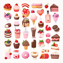 Set Of Delicious Sweet Desserts Made Of Chocolate, Strawberry And Forest Fruit. Sweet Eatings From Bakery, Pastry And Coffee Shops. Isolated Vector Illustrations