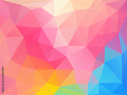 Flat retro color geometric triangle background with grunge texture