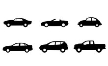 Set Of Car Icons Black Isolated Sign, Symbol In Flat Style