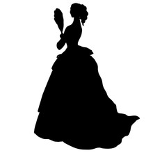 Delicate Female Silhouette In Antique Ball Gone With Fan. Curly Hair, Slim Figure. Vintage Evening Dress, Fluffy Skirt, Corset. Romantic Woman Character, Bride. Pretty Model Design For Print, Cards