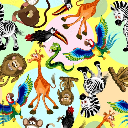 Spoed Foto op Canvas Draw Wild Animals Cartoon Cute and Funny Characters Seamless Pattern Vector illustration