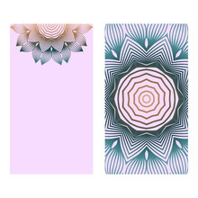 Design Vintage Cards With Floral Mandala Pattern And Ornaments. Vector Template. Islam, Arabic, Indian, Mexican Ottoman Motifs. Hand Drawn Background. Romantic Color