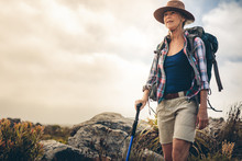 Portrait Of A Woman On A Trekking Expedition