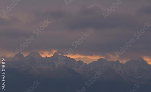 Fototapeta Sunset in mountains, Alps, Italy  obraz na płótnie