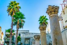 Ruins Of Roman Street Called Cardo In Jerusalem, Israel