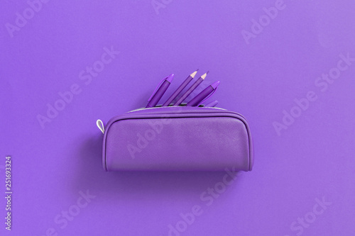 Purple school supplies in pencil case on background of purple paper Wallpaper Mural