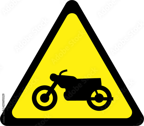 Photo  Warning sign with motocycle
