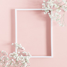 Flowers Composition Romantic. White Gypsophila Flowers, Photo Frame On Pastel Pink Background. Valentine's Day, Easter, Birthday, Happy Women's Day, Mother's Day. Flat Lay, Top View, Copy Space