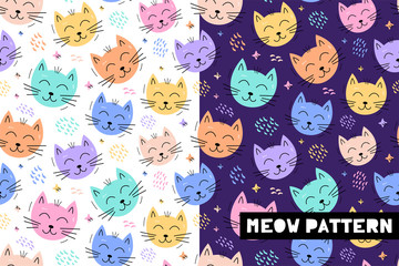 Seamless childish pattern with funny cat animals faces . Creative scandinavian kids texture for fabric, wrapping, textile, wallpaper, apparel. Vector illustration