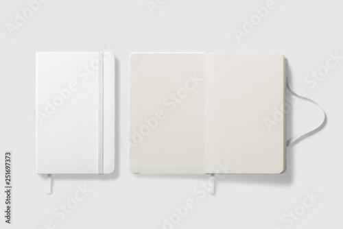 Obraz Top view of Blank photorealistic notebook mockup on light grey background, 3d illustration.  - fototapety do salonu