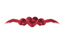 Red Hair Heart Shaped And Knots. Hair Care Logo
