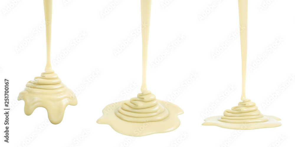 Fototapety, obrazy: 3D rendering of melted white chocolate or cream or white sauce pouring and folding on sphere form and ground plane, isolated on white - Illustration