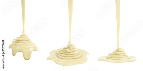 Stampa su Tela  3D rendering of melted white chocolate or cream or white sauce pouring and foldi