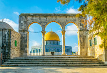 Famous Dome Of The Rock Situated On The Temple Mound In Jerusalem, Israel