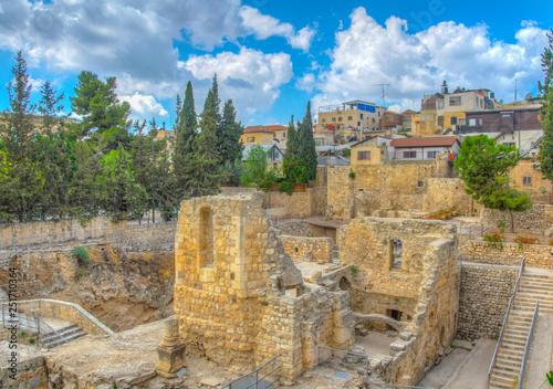 Photo Ruins of pools of Bethesda in Jerusalem, Israel
