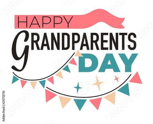 Carta da parati Grandparents day isolated icon elderly family members respect and appreciation