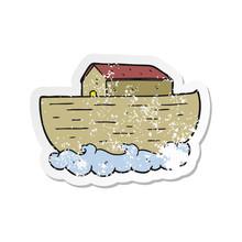 Retro Distressed Sticker Of A Cartoon Noahs Ark