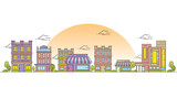 Fototapeta Miasto - Illustration of building with home and store in line style and flat color