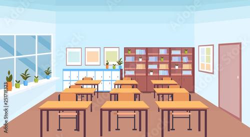 Cuadros en Lienzo modern school classroom interior book shelf desks and chairs empty no people hor