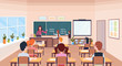 pupils solving math problem on chalkboard during lesson education concept modern school classroom interior male female cartoon characters horizontal flat